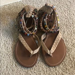Leather beaded sandals